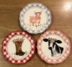 The Pioneer Woman Gingham Farm Animals Cow Pig Cowgirl Appetizer Plates Set of 3