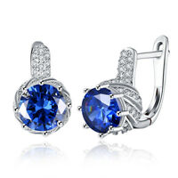 Silver Created Sapphire & White Topaz Trillion-Cut Leverback Drop Earrings
