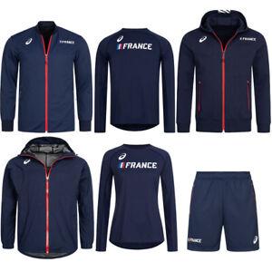 Frankreich ASICS Leichtathletik Sport Trainings Jacke Shorts Sweatshirt blau neu