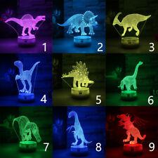 Jurassic Dinosaur 3D LED Nuit Lumière Veilleuse Lampes de Table Cadeau Xmas Gift