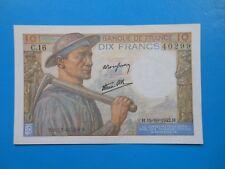 10 francs mineur 15-10-1942 F8/4 SUP , sans trous