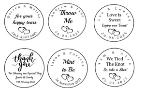 Personalised Wedding Favour Stickers labels - Different Sizes