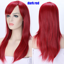 Glueless Halloween Straight Full Wig Pink White Mix Synthetic Wigs With Bangs #C