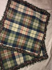 "Set of 2 Plaid Shams 18"" Pillow Sham  Madras Red Blue Green"