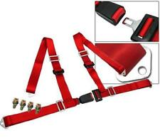 """4-Point racing seat belt harness with buckle lock Red 2"""" Universal"""