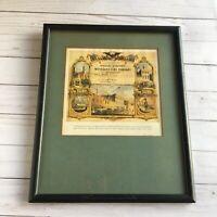 Lithograph of 1860 Fireman's Certificate Weccacoe Fire Company Philadelphia PA