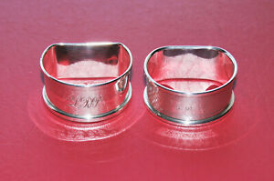 Two Sterling Silver Napkin Rings, Plain & Engine Turned - Initialled LDP & SDP