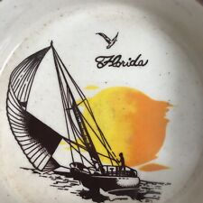 Vintage Florida Ashtray Sail Boat Souvenir Collectible Gift Dad