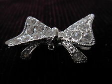 Small Silver Rhinestone Bow Hair Clip Made in Japan