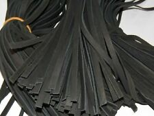 """(Lot of ~300 Pieces 0.37x22"""" )  Black Leather Cord Flat Rope String Craft DIY"""