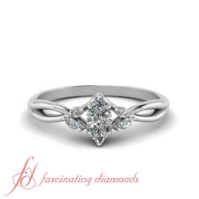 .75 Carat Marquise Cut Diamond Twisted Shank Womens Engagement Ring In Platinum
