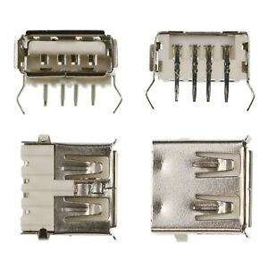 USB Type A Female 90° Angled Connectors - PCB Through Hole Mounting 4 Pin Socket