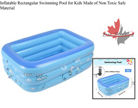 Inflatable Rectangular Swimming Pool for Kids Made of Non Toxic Safe Material