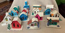 Vintage Lot of 15 Cardboard Putz Christmas Houses Japan Mica Bottle Brush Trees