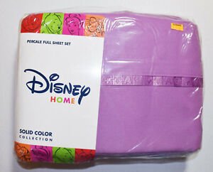 Disney Home Full Percale Purple Sheet Set Solid Color Collection NEW 4 Pieces