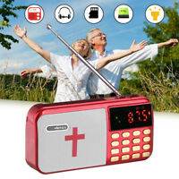 Portable Bible MP3 Player Bass Audio LED Speaker Dual TF Card Port FM USB Radio
