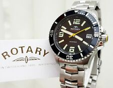 ROTARY AQUASPEED Mens Watch Black S/Steel IDEAL GIFT for Him ! NEW Boxed RRP£280