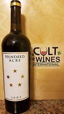 RP 98 pts! 2003 Hundred Acre Kayli Morgan Napa Valley Cabernet Sauvignon wine