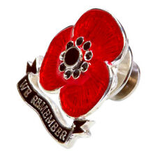 Poppy Pin Hand Made in Hallmarked Sterling Silver Enamelled - 'We Remember'