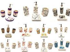 4 Piece Elegant Ceramic Bathroom Accessory Set - Beautiful Printed