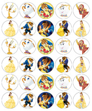 30 x Disney Beauty and The Beast Cupcake Toppers Edible Wafer Fairy Cake Toppers