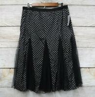 Metro Wear Skirt Womens Size Large Black & White Polka Dot w/ Tulle Details New