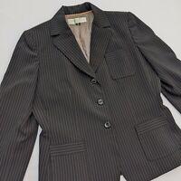 Tahari Arthur Levine Blazer Black Pinstripe Lined 3-Button Womens Size 8P Petite
