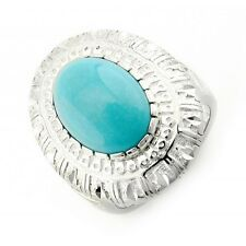 Carolyn Pollack Sterling Silver Diamond Cut Border Ring with Turquoise Size 10