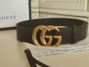 Gucci Black Leather Belt with Double G Buckle Size 36/90
