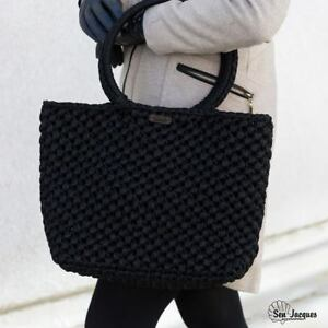 Black Handbag, Handmade Large Bag, Crochet Bag, Woman Gift, Woman Bag, Unique