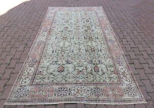 Anatolian Handmade Oriental Beige Carpet Turkish Vintage Nomadic Area Rug 7x10ft