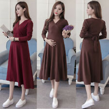 V-neck Dress Nursing Breastfeeding Swing Waist Belted Calf Elegant Comfy M/L/XL