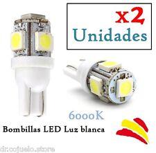 x2 Bombillas LED T10 W5W SMD Luz Blanca 6000K 6W Xenon Coche Interior Posición