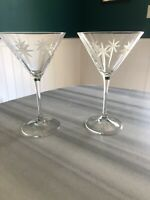 Mid Century Modern North Star Etched Frosted Martini Glass Set Of 2