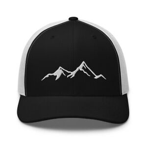 MOUNTAIN Embroidered Trucker Hat, Hiking Climbing Adventure Cap Clothing Gift
