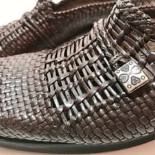 Brighton Woven Leather Brown Mules Silver Size 7.5 N Brenda EU 38.5 Narrow Shoe