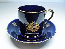 Ancienne tasse et soucoupe porcelaine de Limoges bleu de four cobalt signée