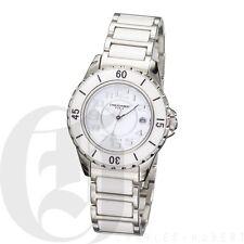New! Charles Hubert White Ceramic Stainless Steel Quartz Watch With Date 3755-W