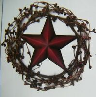 """Country Primitive 8"""" Twig BERRY WREATH  AMERICANA metal 5..5"""" STAR swag sign"""