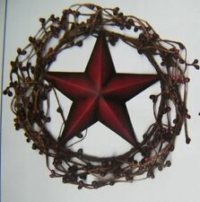 "Country Primitive 4"" Twig BERRY WREATH  AMERICANA metal 3"" STAR swag sign"