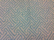 "China Seas Quadrille Geometric Fabric- Java Grande Turquoise REMNANT 17.5"" x 36"""