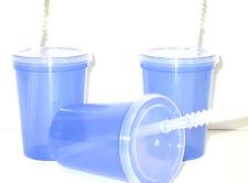 12 Small 12 Oz Translucent Purple Drinking Glasses/Cups, Lids, Straws,Mfg USA*