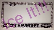 Chevrolet Chevy Stainless Steel license plate frame W Swarovski Crystals