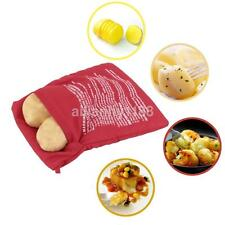 1PCS Microwave Baked Potato Cooking Bag Reusable Washable Corn Baking Red AU