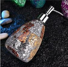 Mosaic Soap Lotion Dispenser Glass Chrome Finish Plastic Hand Pump Home Decor x1