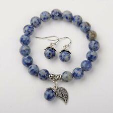 Blue Jasper Gemstone Bracelet Earring Valentine Gift Chakra Reiki Velvet Bag UK