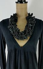 New Fabric Necklace Gray Jersey Chunky Art To Wear Lagenlook