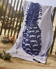 """Extra Long Reversible Beach Towel Pineapple 36"""" x 72"""" Blue & White Cotton NWT"""