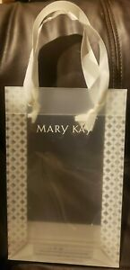 Mary Kay Clear Vinyl Plastic Gift Bags White Ribbon Handles Set of 7