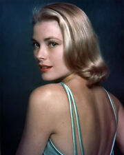 GRACE KELLY 8X10 PHOTO STRIKING COLOR PORTRAIT LOOKING OVER SHOULDER